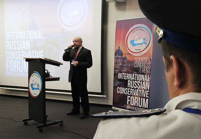 Fedor Biryukov, political council member of the Rodina party, speaking at the Russian international conservative forum in St. Petersburg. March 22, 2015.