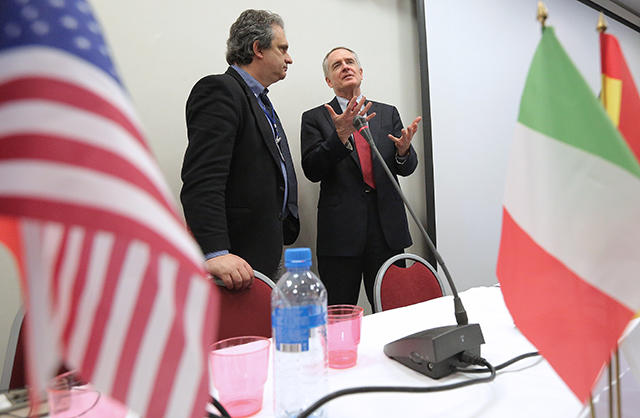 Party leader of the Italian New Force Roberto Fiore speaks with American author Jared Taylor at the Russian international conservative forum in St. Petersburg. March 22, 2015.