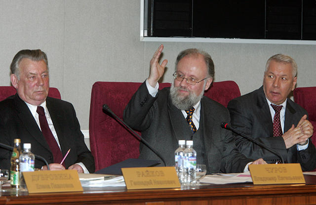Central Electoral Committee Chairman Vladimir Churov and Committee members Gennady Raikov (left) and Valery Kryukov (right) at a meeting of the new Committee members. March 27, 2007.