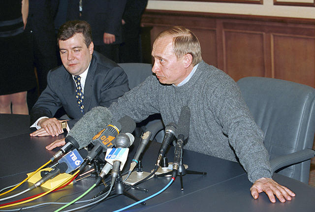 Interim President of the Russian Federation Vladimir Putin and Deputy Head of the Presidential Administration Dmitry Medvedev answer questions at a press conference at Putin's campaign headquarters after preliminary election results were reported. March 26, 2000.