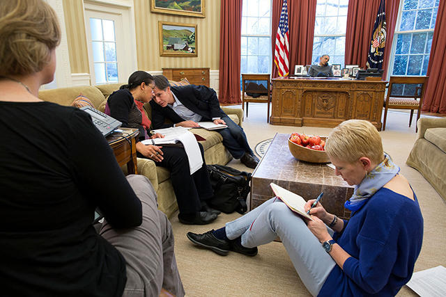 Celeste Wallander (right) and other members of the National Security Council during a telephone conversation between Barack Obama and Vladimir Putin. March 16, 2014.