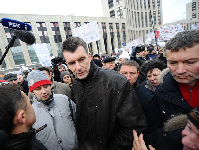 "Presidential candidate and businessman Mikhail Prokhorov with Yevgeny Roizman, head of the foundation ""Gorod Bez Narkotikov"" (City without Drugs), at the opposition protest ""For Fair Elections."" Moscow, Sakharova Prospekt. December 26, 2011"