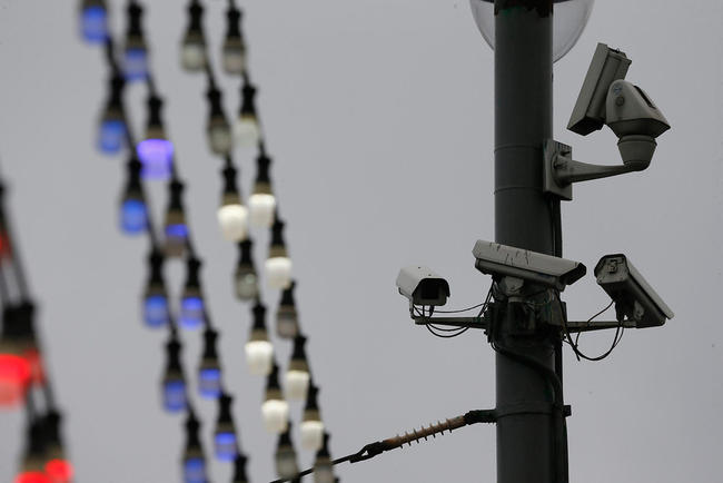 CCTV cameras installed in the vicinity of the Kremlin, near Boris Nemtsov's assassination spot. Moscow, March 4, 2015