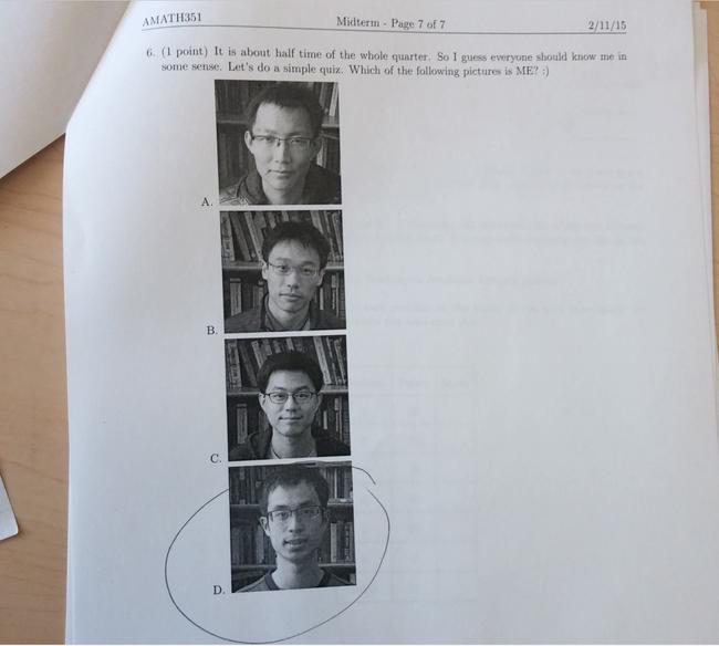 Педагог математики втесте дал задание выбрать правильную фотокарточку его лица