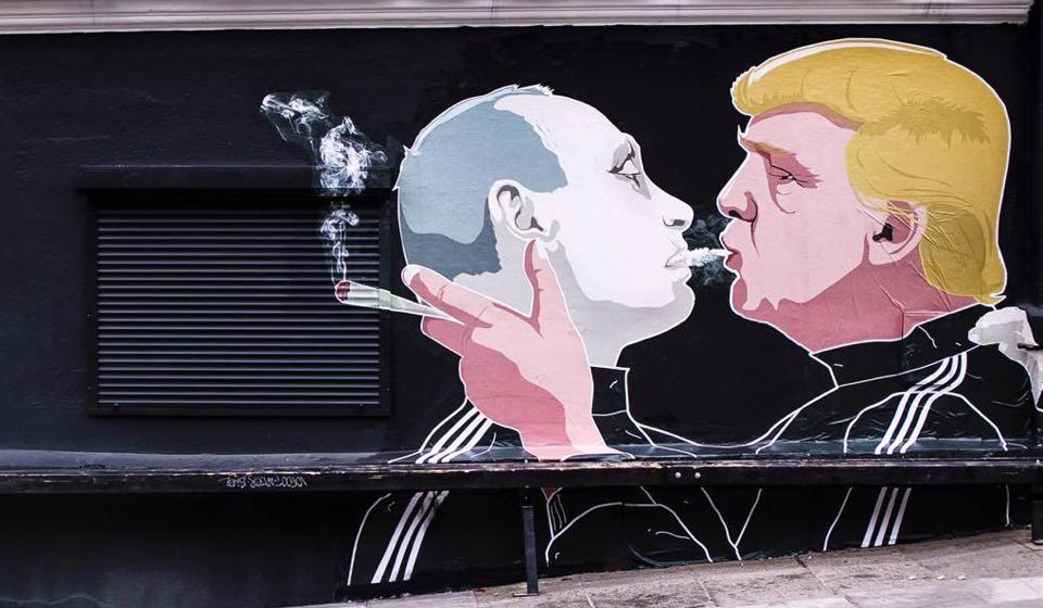 ВВильнюсе появилось новое граффити сизображением В. Путина иТрампа