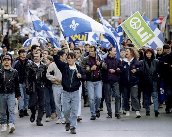 Québécois Party protest in Canada for the independence of Quebec