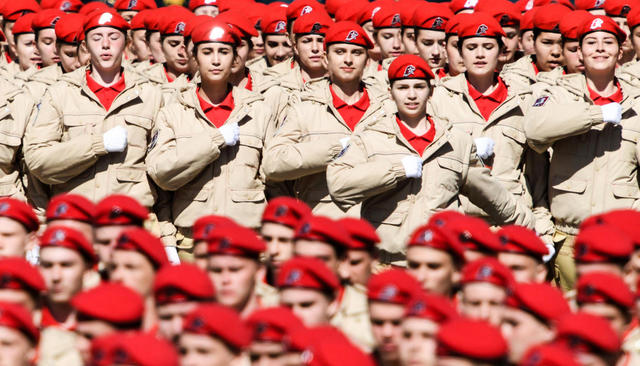 YouthArmy cadets at a Victory Day parade rehearsal in Moscow, May 7, 2017