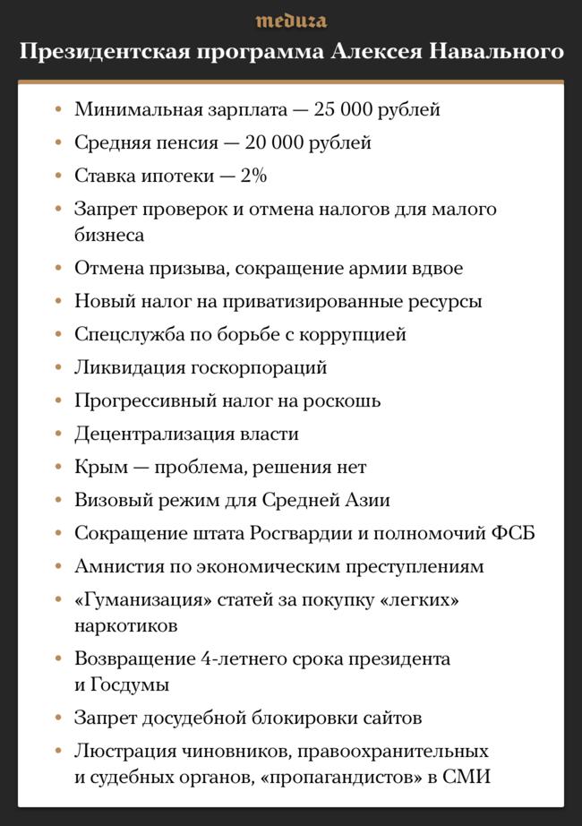 """Алексей Навальный накануне начала президентской кампании опубликовал свою подробную предвыборную программу. Вней политик перечислил основные реформы ицели, которые онставит перед собой. Полностью программу можно почитать <a href=""""https://2018.navalny.com/platform/"""" target=""""_blank"""">здесь</a>."""