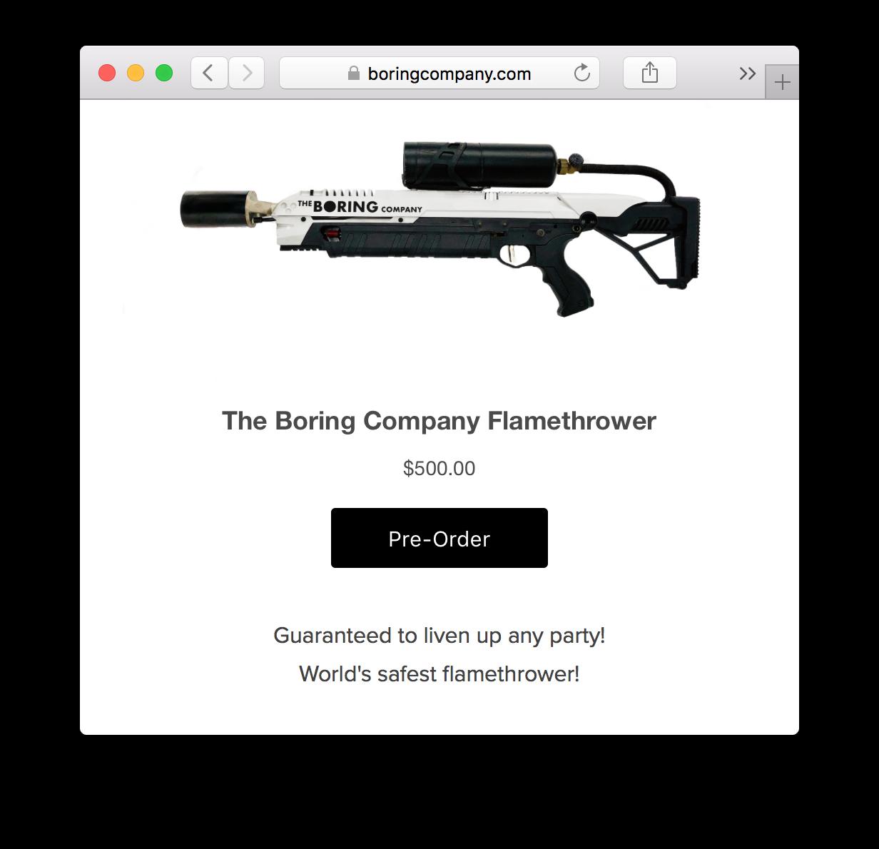 Илон Маск начал продавать огнеметы