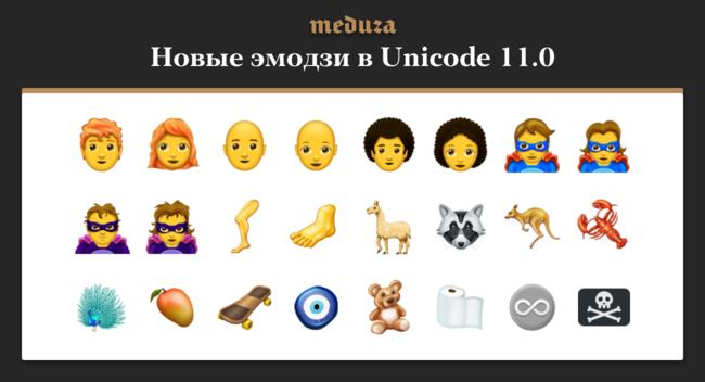 """Консорциум Unicode <a href=""""http://www.unicode.org/emoji/charts-11.0/emoji-released.html"""" target=""""_blank"""">принял</a> новый стандарт. Вверсии 11.0 появилось 160 новых эмодзи, втом числе рыжие икудрявые люди, супергерои исуперзлодеи, лобстер, енот, лама, скейтборд ипиратский флаг. Когда именно новые эмодзи появятся втелефонах имессенджерах, неизвестно."""