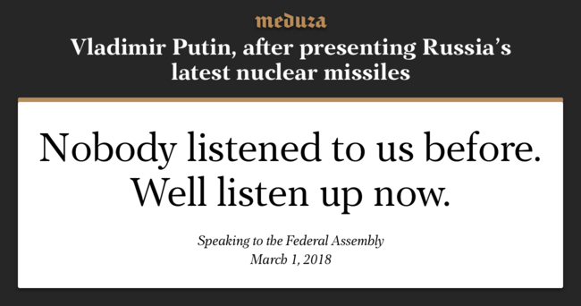 During his address to the Federal Assembly on Thursday, President Putin unveiled several new prototypes in Russia's nuclear weapons arsenal, which he says are unparalleled around the world. The president says the new weapons were created as a response to the United States' decision to expand its missile-defense infrastructure. According to Putin, Russia's new weapons makes the expansion of NATO meaningless.