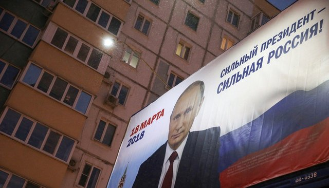 A billboard in Kazan promoting Vladimir Putin's re-election campaign, January 23, 2018