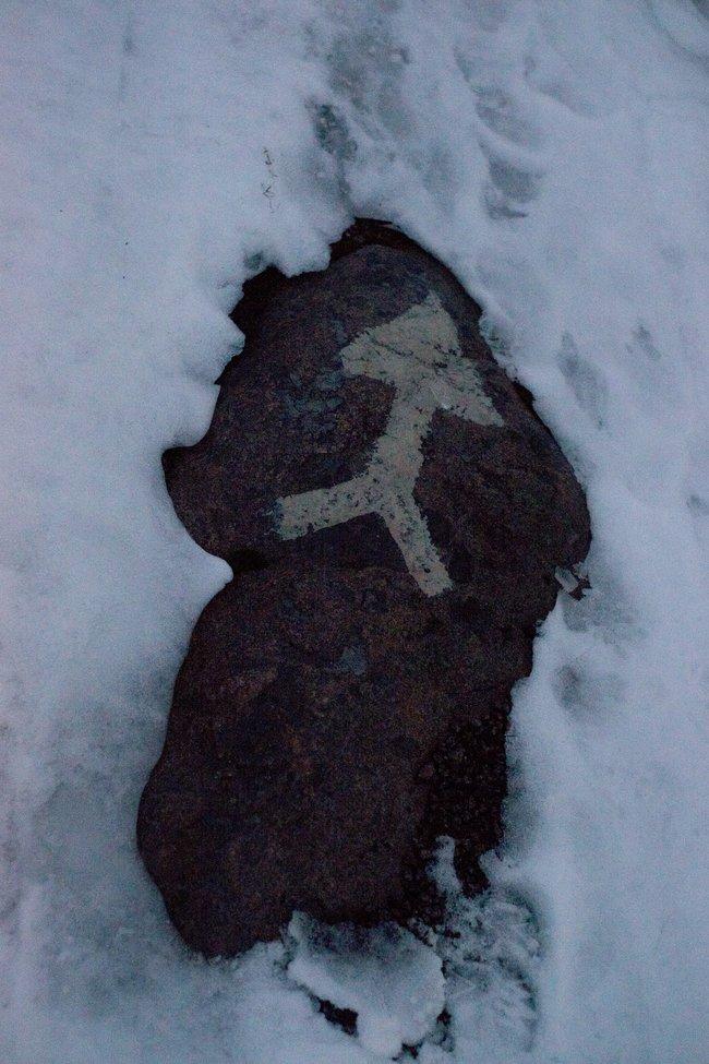 Камни наберегу Беломорканала врайоне Повенца, январь 2018 года