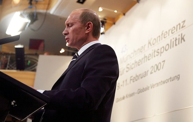 "Vladimir Putin gives his ""Munich speech"" at a security policy conference in Germany on February 10, 2007"