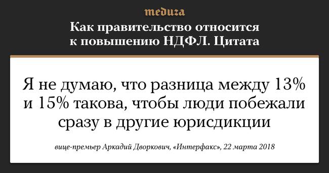 """После президентских выборов правительство <a href=""""https://meduza.io/news/2018/03/22/posle-vyborov-prezidenta-pravitelstvo-nachalo-obsuzhdat-povyshenie-ndfl-do-15"""" target=""""_blank"""">вернулось</a> кобсуждению налоговой реформы. Вчастности, предлагается повысить ставку налога надоходы физических лиц с13% до15%. Это должно помочь реализовать шестилетний план поповышению показателей жизни, которые президент Владимир Путин озвучил впослании Федеральному собранию. Впервой версии этой картинки была дана цитата Аркадия Дворковича сленты «Интерфакса», затем агентство <a href=""""http://www.interfax.ru/business/604728"""" target=""""_blank"""">уточнило</a> ее. Картинка была обновлена."""