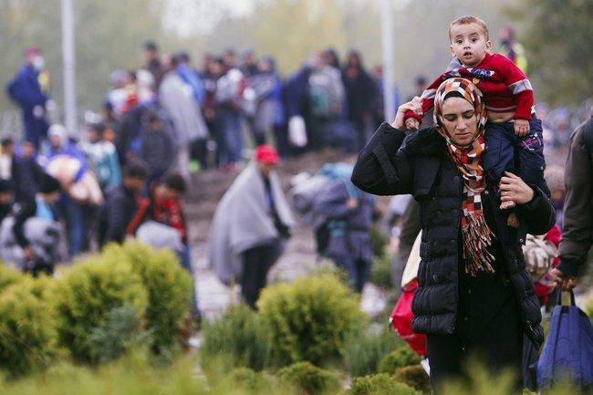 Мигранты на территории Венгрии неподалеку от границы с Хорватией, 16 октября 2015 года