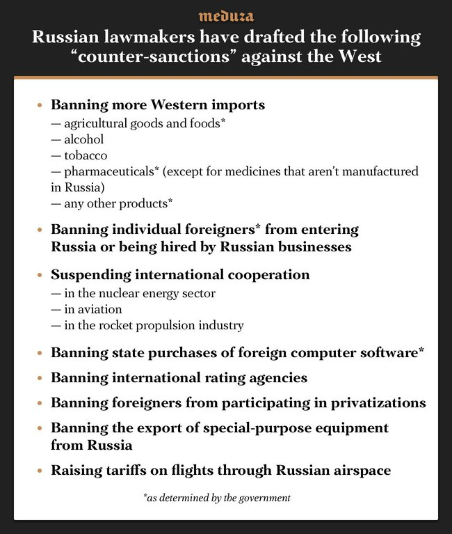 """In response to the latest <a href=""""https://meduza.io/en/feature/2018/04/06/taking-on-russia-s-oligarchs"""" target=""""_blank"""">U.S. sanctions</a> against prominent Russian billionaires, lawmakers in the State Duma have drafted <a href=""""http://sozd.parlament.gov.ru/bill/441399-7"""" target=""""_blank"""">legislation</a> designed to counter """"hostile actions by the United States and other countries."""" The bill's sponsors are Duma Speaker Vyacheslav Volodin and the leaders of all the political parties with seats in the parliament. The legislation would put a series of different sanctions at the government's disposal.<br><br>Correction: an earlier version of this story mistakenly claimed that the legislation included language """"allowing the 'free' use of foreign intellectual property."""" This was in fact an erroneous claim by State Duma deputy Mikhail Emelyakov. Meduza apologizes for the error."""