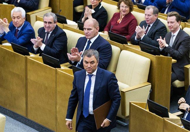 Вячеслав Володин напервом заседании Госдумы седьмого созыва, где его избрали спикером, 5октября 2016 года