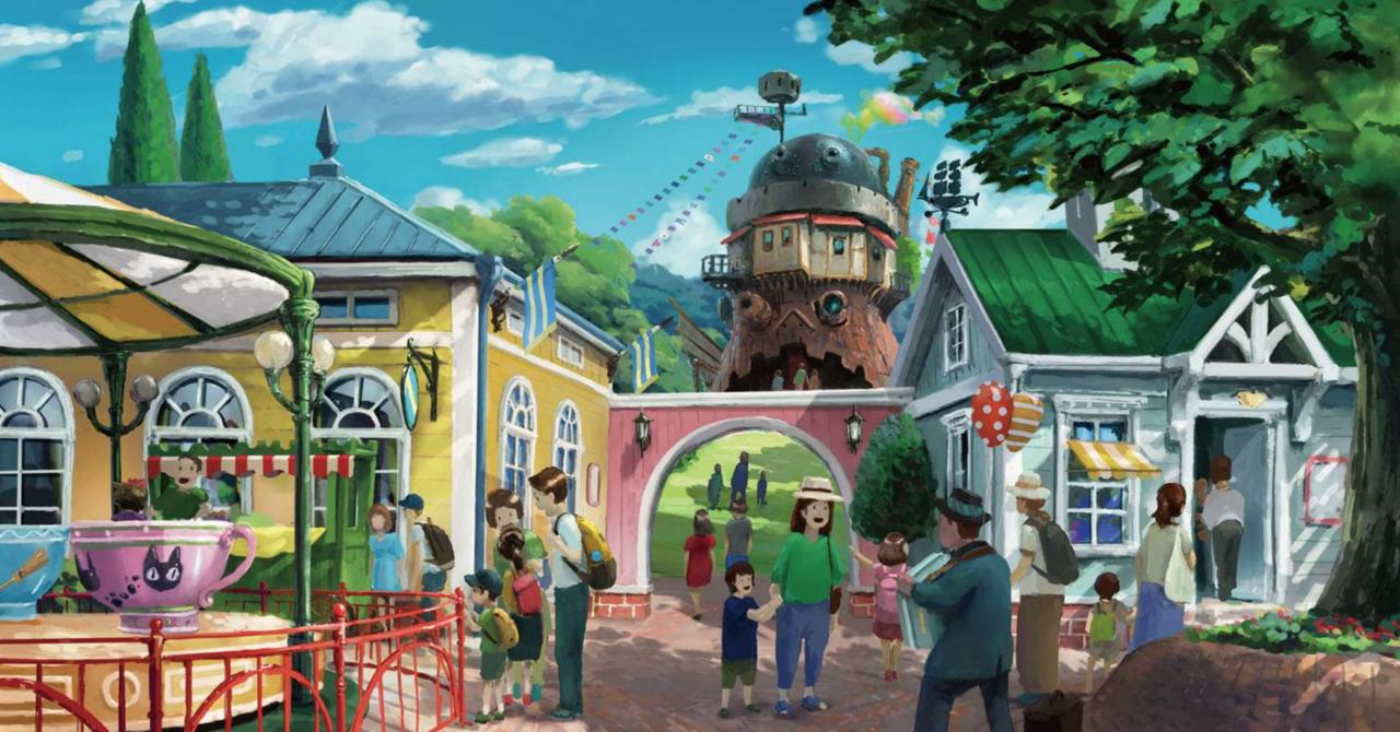 Студия Ghibli показала, как будет выглядеть еепарк развлечений. Внем будет ходячий замок идеревня принцессы Мононоке!