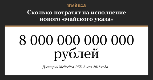 """Сразу после инаугурации Владимир Путин подписал <a href=""""https://meduza.io/news/2018/05/07/putin-podpisal-novyy-mayskiy-ukaz"""" target=""""_blank"""">новый «майский указ»</a>. Внем говорится, чего должна достигнуть Россия до2024 года— вчисле прочего, войти втоп-5 экономик мира, сократить смертность иповысить продолжительность жизни иееуровень. 8мая Дмитрий Медведев, которого Путин решил оставить премьер-министром, сообщил депутатам, что наисполнение планов президента <a href=""""https://www.rbc.ru/economics/08/05/2018/5af16d019a79476c127101f5"""" target=""""_blank"""">потребуется минимум 8 триллионов рублей</a>."""