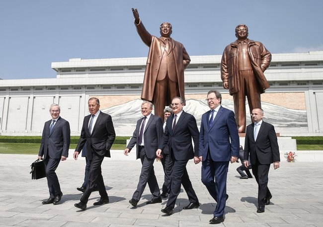 """On May 31, Russian Foreign Minister Sergey Lavrov made his first visit to North Korea in almost a decade. Laying flowers at a memorial to the nation's former leaders, Kim Il-sung and Kim Jong-il, Lavrov met with his North Korean counterpart, Ri Yong-ho, and also spoke to the country's current ruler, Kim Jong-un. This was the Kremlin's first official meeting with Kim, who is supposed to travel to Singapore in two weeks for """"on-again, off-again"""" talks with U.S. President Donald Trump."""