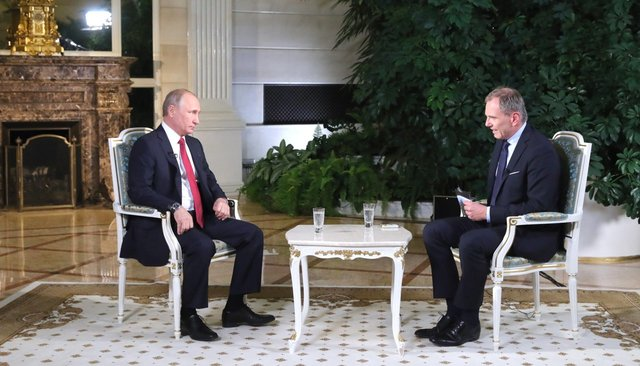 Vladimir Putin and Armin Wolf during their interview at the Kremlin. June 1, 2018