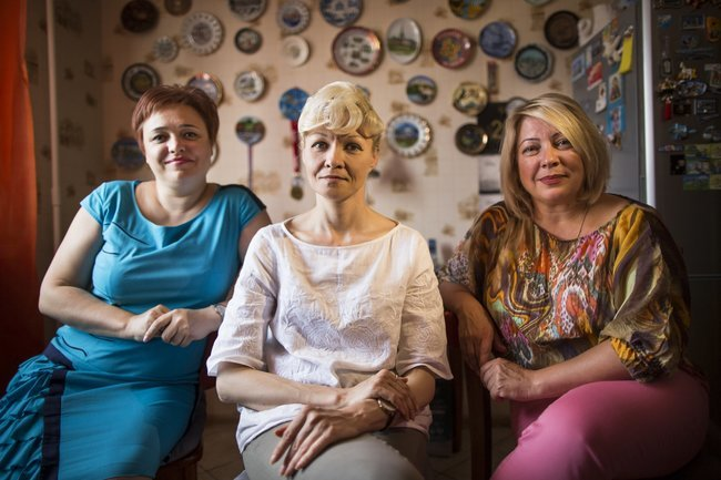 Aeroflot flight attendants Evgeniya Magurina and Irina Ierusalimskaya (left and right), sitting with Ilona Borisova, the chairperson of the Sheremetevsk Flight Attendants' Union. July 28, 2017