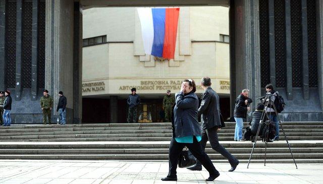 Парламент Крыма задва дня дореферендума оприсоединении полуострова кРоссии, 14марта 2014 года