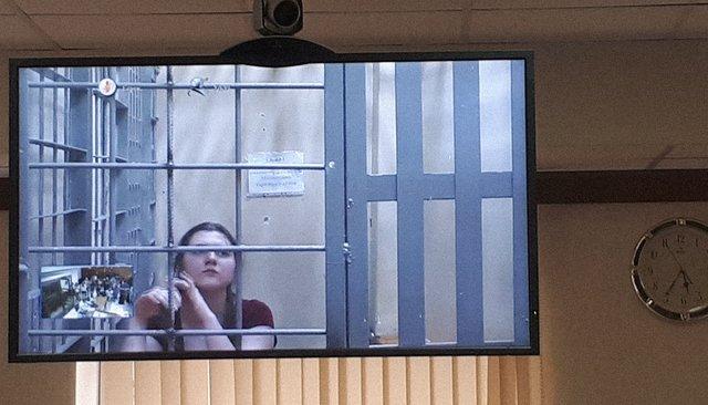 Анна Павликова вМосгорсуде (повидеосвязи изСИЗО), 26июля 2018 года
