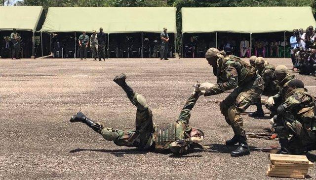 Подготовка центральноафриканских солдат набазе вБеренго, 31марта 2018 года. Сними работали европейские инструкторы, апотом ихснабдили российским оружием