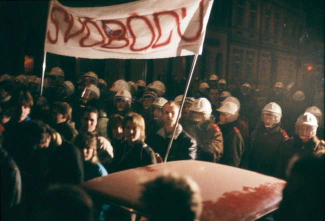 A demonstration by students in downtown Prague, November 17, 1989
