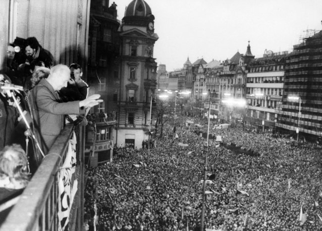 Demonstrators rally in support of reforms in Prague's Wenceslas Square, 1968