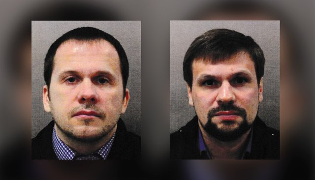 """Alexander Petrov"" (left) and ""Ruslan Boshirov,"" the Russian suspects identified in the ""Novichok"" attack in England."