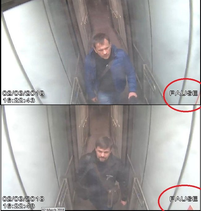 """Alexander Petrov"" (top) and ""Ruslan Boshirov."" (Red circles added by Meduza.)"