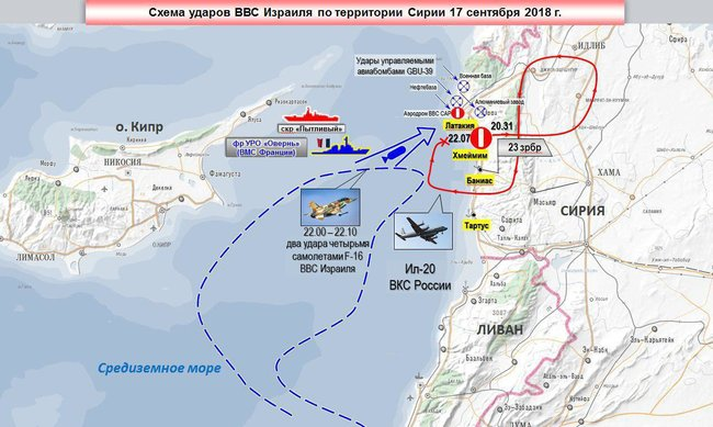 Blue lines indicate the path of the Israeli warplanes, and the red line shows the path of the Ilyushin Il-20.