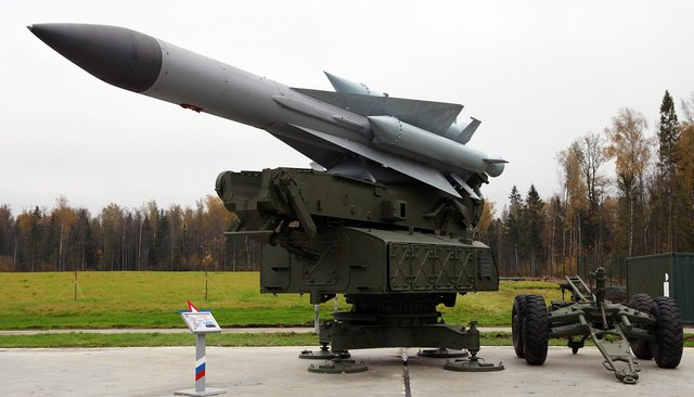 An anti-aircraft guided missile on an S-200V launcher in Patriot Park outside Moscow