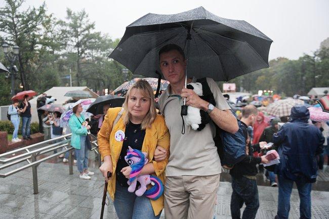 Мама Анны Павликовой Юлия на«Марше матерей» вМоскве, 15августа 2018 года