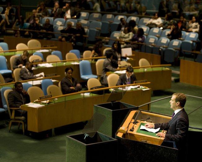 Президент России Дмитрий Медведев наГенеральной Ассамблее ООН вНью-Йорке, 23сентября 2009 года