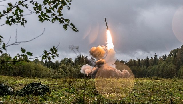 Launch of an Iskander-K cruise missile during exercises in the Leningrad region in 2017