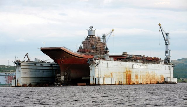 "Russian aircraft carrier ""Admiral Kuznetsov,"" floating dock PD-50, August 2010"