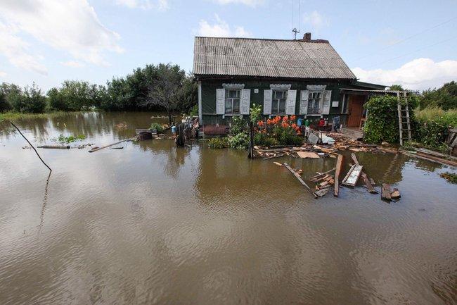 Большой Уссурийский остров вовремя наводнения, август 2013 года