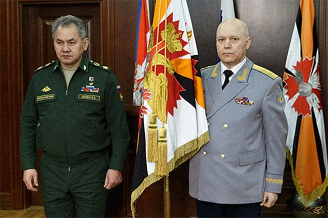 Russian Defense Minister Sergey Shoigu (left) with Igor Korobov, just after his appointment as head of Russia's Military Intelligence Directorate, February 2, 2016