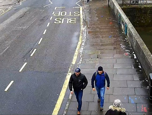 """Ruslan Boshirov"" and ""Alexander Petrov"" in Salisbury, shortly before Sergey Skripal was poisoned, March 3, 2018"