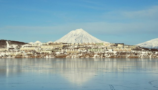 The town of Vilyuchinsk, at the foot of the Kamchatka volcanoes, December 10, 2011
