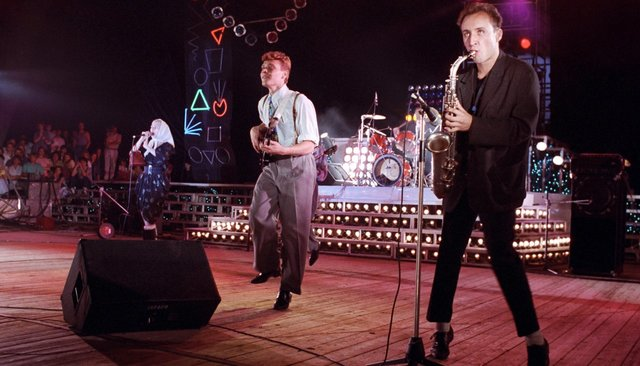 "The rock group ""Bravo"" at a concert in Moscow on October 15, 1988"