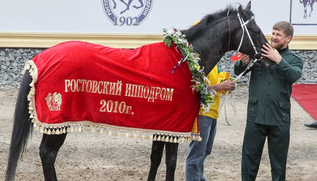 Horse racing for Russia's presidential prize in 2010. Chechen ruler Ramzan Kadyrov's horse, Khwarazm, won the grand prize.