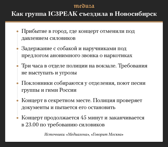 """Вконце 2018 года группа <a  data-cke-saved-href=""""https://meduza.io/feature/2018/11/23/v-kazani-siloviki-sorvali-kontsert-ic3peak-drugie-vystupleniya-tozhe-pod-ugrozoy-nedavno-gruppa-nachala-pet-pro-mitingi-rossiyu-i-smert"""" href=""""https://meduza.io/feature/2018/11/23/v-kazani-siloviki-sorvali-kontsert-ic3peak-drugie-vystupleniya-tozhe-pod-ugrozoy-nedavno-gruppa-nachala-pet-pro-mitingi-rossiyu-i-smert"""" target=""""_blank"""">IC3PEAK</a>, как и<a  data-cke-saved-href=""""https://meduza.io/feature/2018/11/28/po-vsey-strane-vlasti-sryvayut-kontserty-posmotrite-tablitsu-tam-uzhe-bolshe-20-sluchaev"""" href=""""https://meduza.io/feature/2018/11/28/po-vsey-strane-vlasti-sryvayut-kontserty-posmotrite-tablitsu-tam-uzhe-bolshe-20-sluchaev"""" target=""""_blank"""">некоторые другие</a> российские исполнители, столкнулась спротиводействием при проведении тура поРоссии: организаторы отказываются отпроведения концертов под давлением силовиков, асамих музыкантов тоидело досматривает полиция. 1декабря музыкантов <a  data-cke-saved-href=""""https://meduza.io/news/2018/12/01/gruppu-ic3peak-zaderzhali-na-vokzale-v-novosibirske"""" href=""""https://meduza.io/news/2018/12/01/gruppu-ic3peak-zaderzhali-na-vokzale-v-novosibirske"""" target=""""_blank"""">задержали</a> навокзале вНовосибирске, где проведение концерта итак было под угрозой; затем полицейские <a  data-cke-saved-href=""""https://meduza.io/news/2018/12/01/gruppa-ic3peak-ustroila-kontsert-v-novosibirske-posle-zaderzhaniya-na-nego-prishla-politsiya"""" href=""""https://meduza.io/news/2018/12/01/gruppa-ic3peak-ustroila-kontsert-v-novosibirske-posle-zaderzhaniya-na-nego-prishla-politsiya"""" target=""""_blank"""">пришли</a> навыступление."""