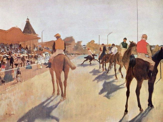 Эдгар Дега. Скаковые лошади перед трибунами. Музей Орсе
