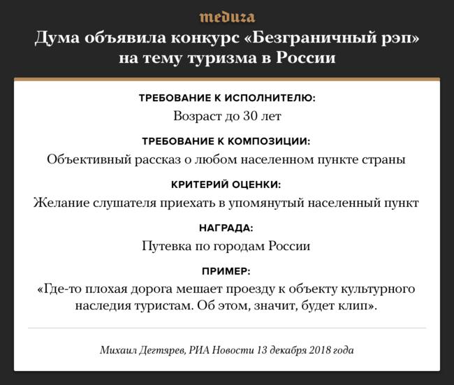 """Комитет Госдумы пофизической культуре, спорту, туризму иделам молодежи <a  data-cke-saved-href=""""https://ria.ru/20181213/1547932253.html"""" href=""""https://ria.ru/20181213/1547932253.html"""" target=""""_blank"""">запустил</a> конкурс для рэп-исполнителей. Вего рамках музыканты должны будут записать композицию, «объективно рассказывающую» олюбом населенном пункте страны. Заявки научастие вконкурсе принимаются доянваря 2019 года, аитоги будут подведены весной. Оценивать рэперов будет специальная комиссия под руководством депутата Михаила Дегтярева ивидеоблогера Юрия Дегтярева, известного, вчастности, по<a  data-cke-saved-href=""""https://tjournal.ru/flood/27613-osnovatel-my-duck-s-vision-zayavil-chto-rolik-o-devochke-s-prahom-ee-pradeda-yavlyaetsya-reklamoy-filma"""" href=""""https://tjournal.ru/flood/27613-osnovatel-my-duck-s-vision-zayavil-chto-rolik-o-devochke-s-prahom-ee-pradeda-yavlyaetsya-reklamoy-filma"""" target=""""_blank"""">ролику</a> «Девочка рисует прахом деда-ветерана»."""