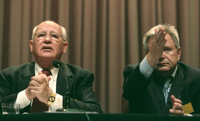 Mikhail Gorbachev and Konstantin Titov, the leaders of the United Social Democratic Party, at the party's second conference in Russia. During the course of the conference, the party decided not to participate in the upcoming elections for the State Duma. Gorbachev parted ways with the Social Democrats soon afterward. Moscow, September 19, 2003